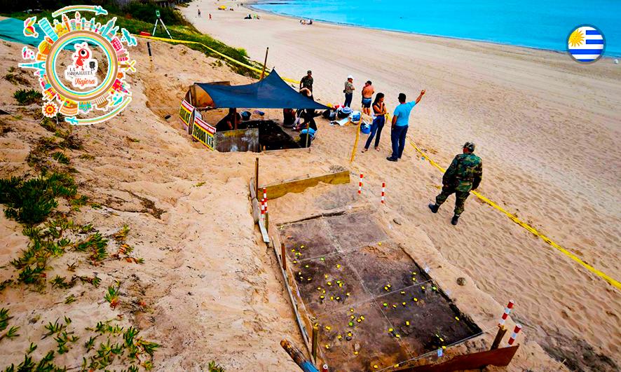 En plena playa. En la Mansa, un sitio arqueológico prehispánico (AFP)