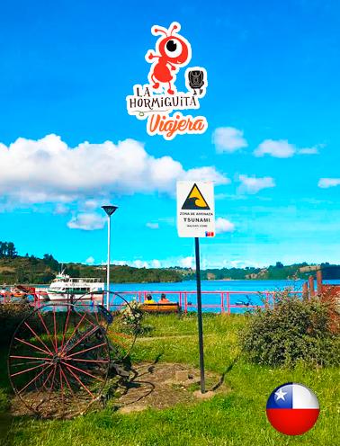 Anuncio de atención por Tsunamís - Parque del Tren - Rambla Puerto Montt - Castro - Isla Chiloé - Enero 2018